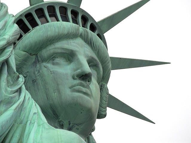 Statue of Liberty face, close up