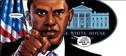 "President Barack Obama pointing and saying, ""Superman - Your country needs you now!"" - Comic Illustration"