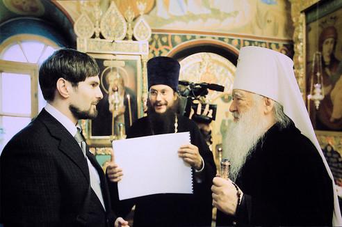 Митрополит Крутицкий и Коломенский Ювеналий и архитектор Иван Канаев
