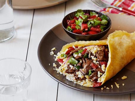Keto beef burrito with Pico de Gallo