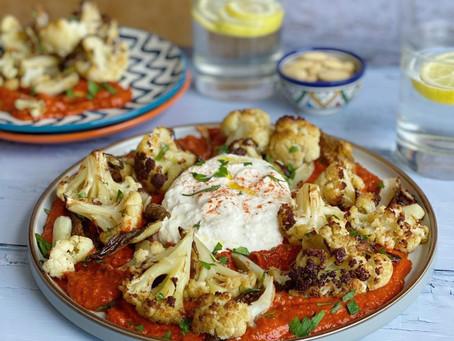 Roasted Cauliflower with Romesco Sauce and Burrata
