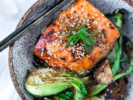 Teriyaki Salmon with Steamed Greens