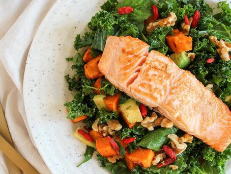 Salmon with Sweet Potato and Kale Salad