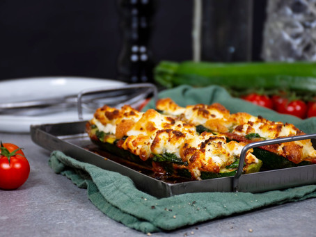 Zucchini Boats with Goats Cheese
