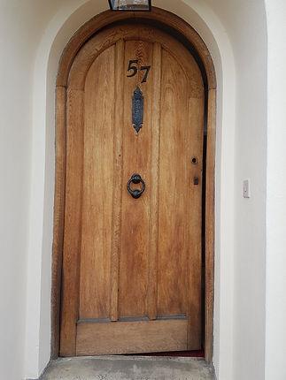 Oak door before stripping