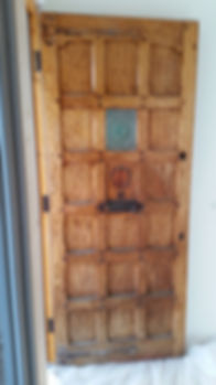 Oak door before stripping and bleaching