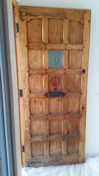 Oak door before stripping and bleaching