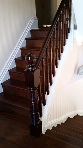 Mahogany Staircase Colour Matched Post