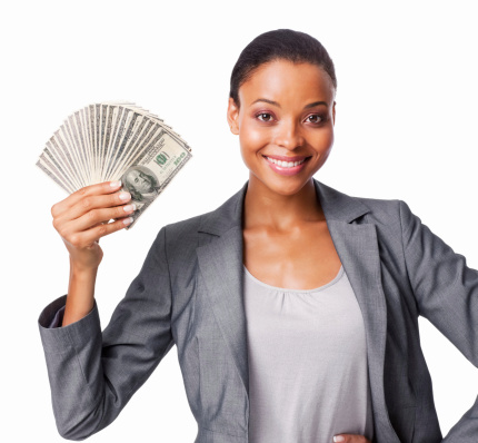 woman holds cash (1)