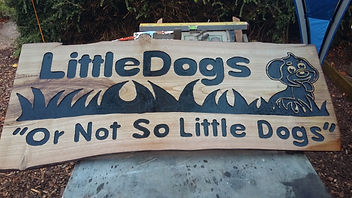 Local business sign, wooden sign, dog sign