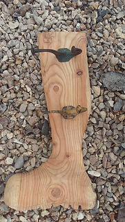 Welly-boot coat hat hook, wooden caved coat hat hook, country style, wellington boot, novelty