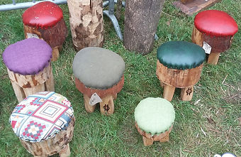 Handmade wooden stools, hand upholstered, foot stools, kids stools, camping stools