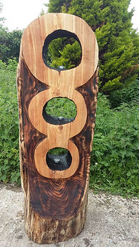 Wooden sculpture, carved, garden ornament, garden sculpture, abstract