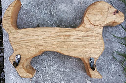 Oak sausage dog lead, coat, hat hook, carved wooden coat hook, novelty