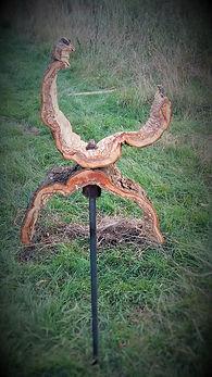 Wooden ornate sculpture, handmade, applewood, hand forged stand, garden ornament, garden sculpture