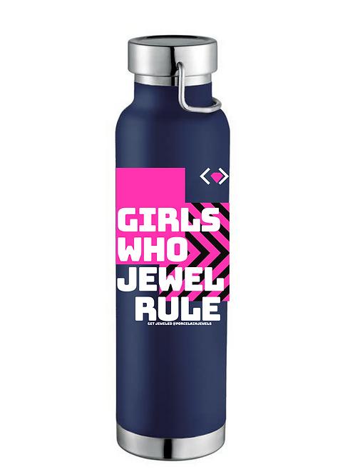 Girls Who Jewel Rule Water Bottle (Dark Blue)