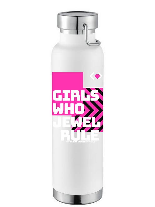 Girls Who Jewel Rule Water Bottle (White)