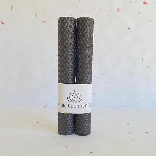 Hand Rolled Beeswax Candle - Black