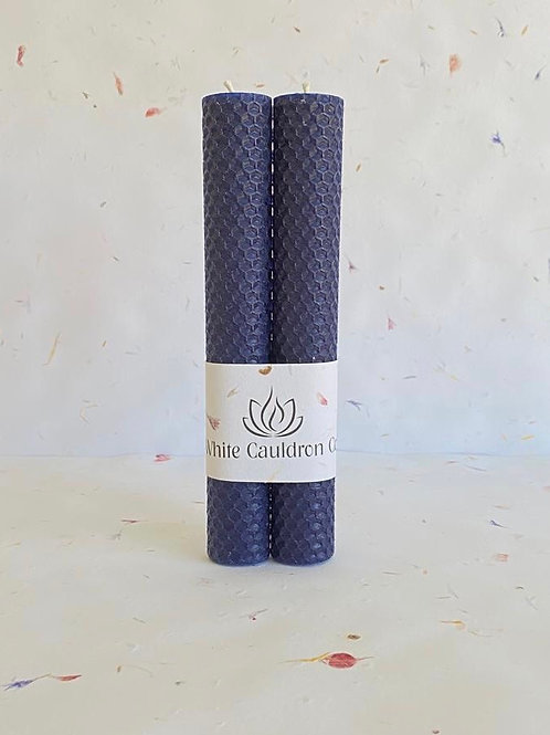 Hand Rolled Beeswax Candle - Blue