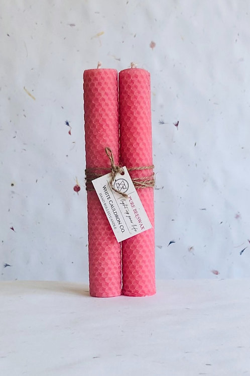 Hand Rolled Beeswax Candle - Pink