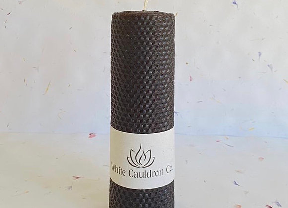 Hand Rolled Beeswax Pillar Candle - Black