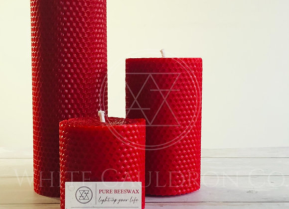 Hand Rolled Beeswax Candle Set - Red