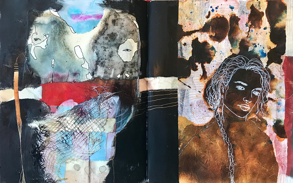 Art journal spread with collage