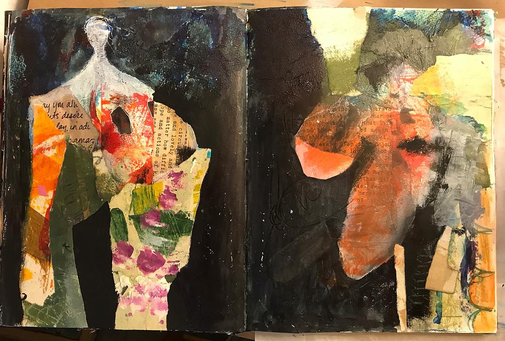Midway thru an art journal spread