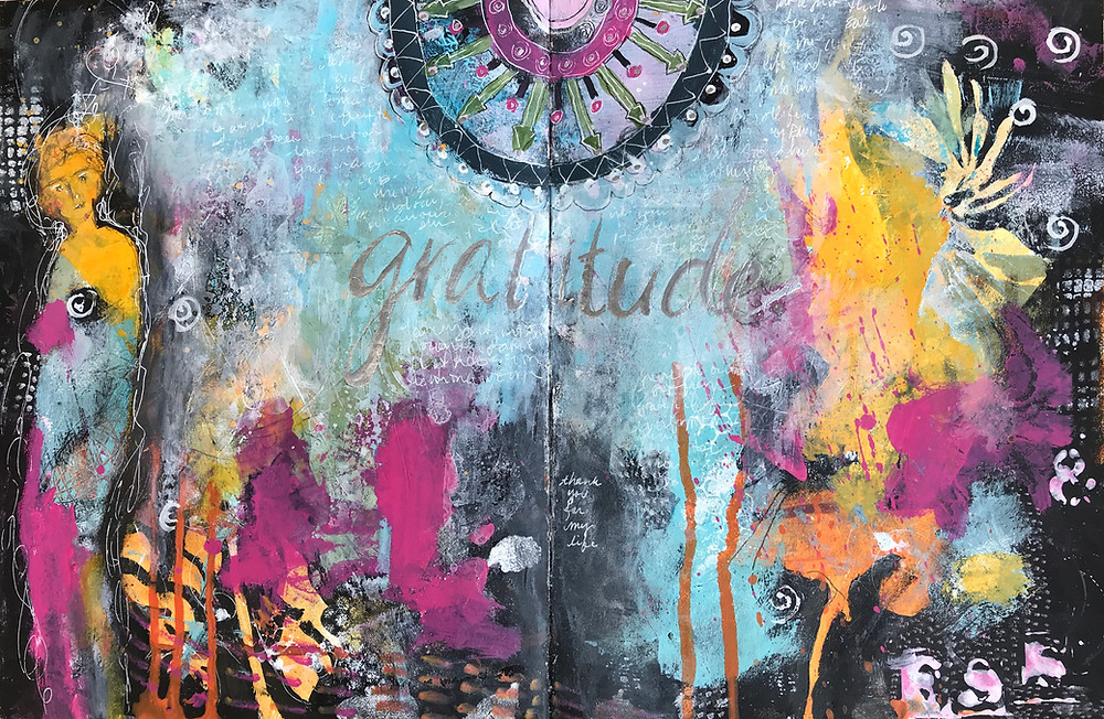 Gratitude art journal spread