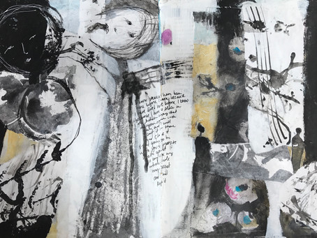 Completing An Art Journal Page At A Workshop