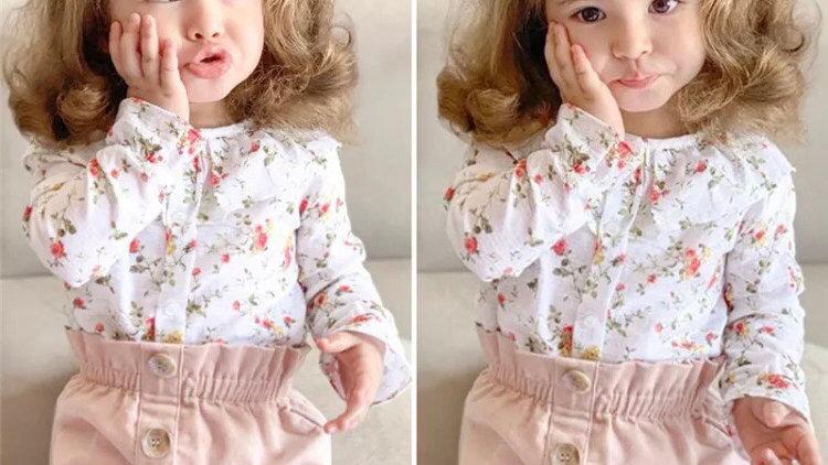 Flower blouse and skirt set