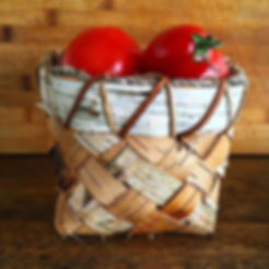 Plaited birch bark basket, rim sewn with