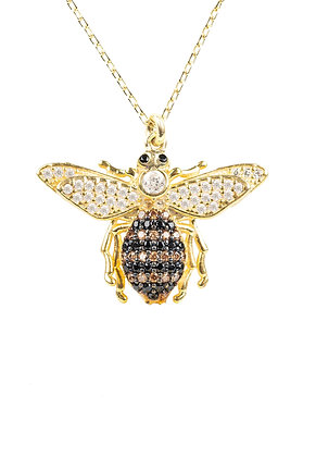 Queen Bee Pendant Necklace Gold