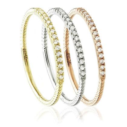 9ct Gold Crystal Triple Stacking Ring Set (3 Rings)