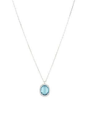 Beatrice Oval Gemstone Pendant NecklaceSilver Blue Topaz Hydro