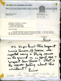 Pauling letter to Colgate