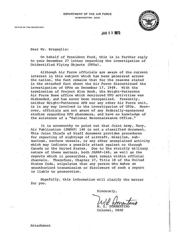 USAF letter re UFOs