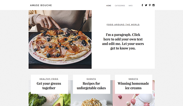 Lifestyle website templates – Culinaire blog