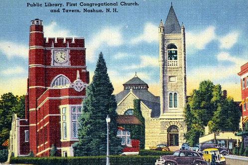 Postcard:  Public Library & First Congregational Church
