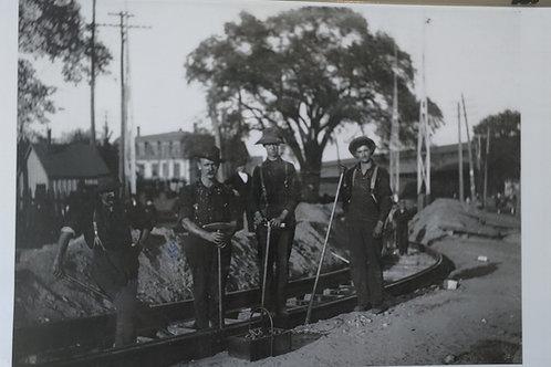 Placemat:  Men Laying Railroad Tracks