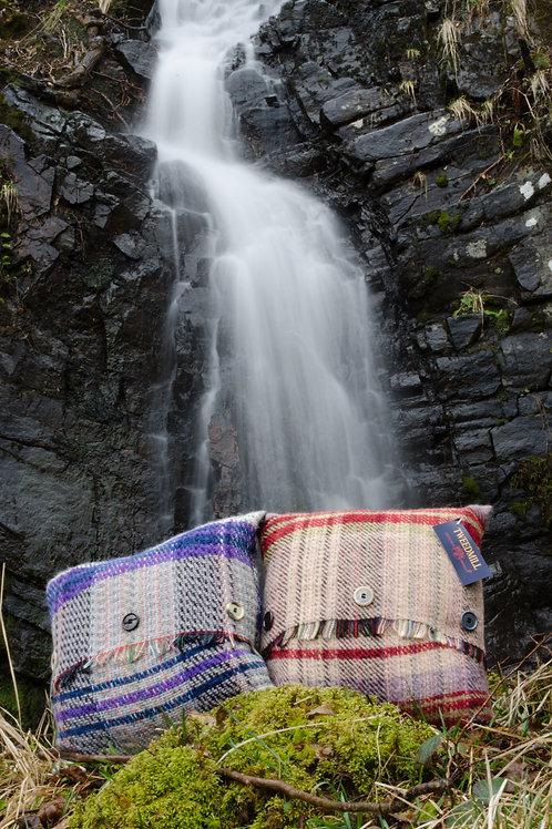 'Random Wool' Button Fringe Cushion