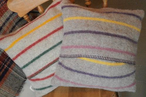 Striped Blanket Stitch Cushion
