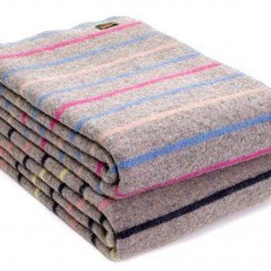 Striped Blanket-Stitch Throw/Blanket