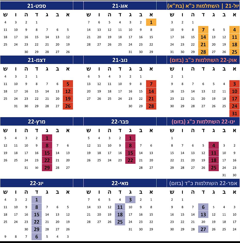 לוח שנה השתלמות כא כב כג כד לאתר גריד ענ