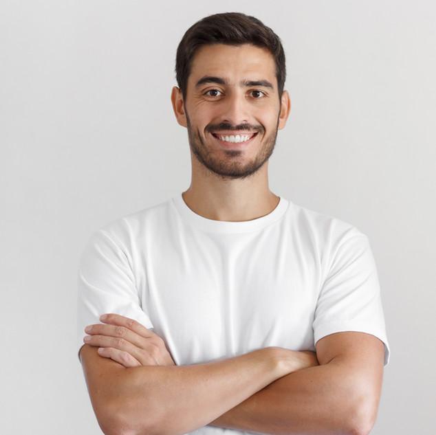 Retrato, de, homem sorridente