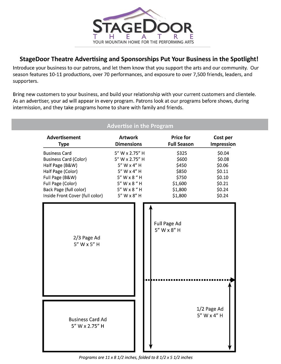 StageDoor Theatre - Program Advertising