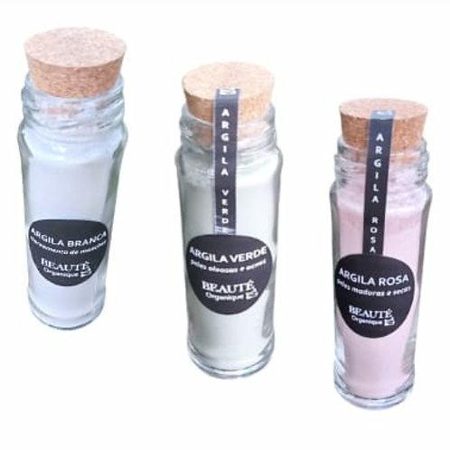 Argila verde, rosa ou branca 100g