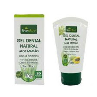 Gel Dental Natural Aloe Mamão LIVEALOE 70g