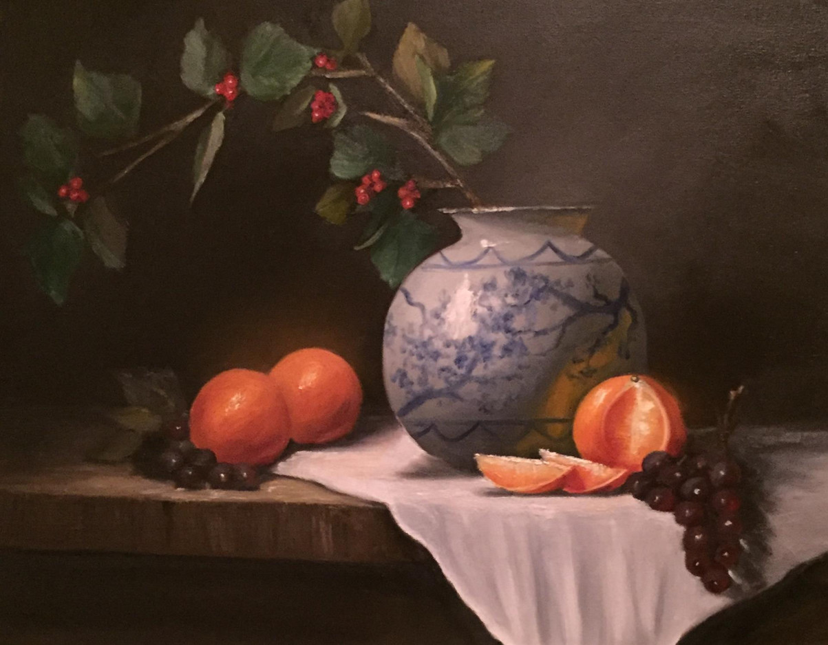 Asian Vase With Berries