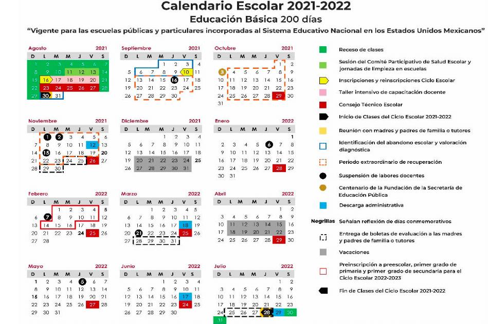 Publica SEP calendario escolar 2021-2022